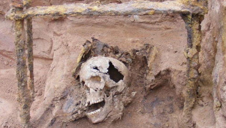 Grab mit Resten eines Eisenkäfigs