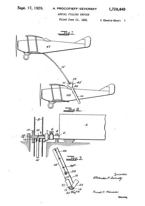 »Aerial-filling device«: Das Patent zur Luftbetankung – per Schlauch statt Kanister – wurde 1921 mit dieser Skizze eingereicht