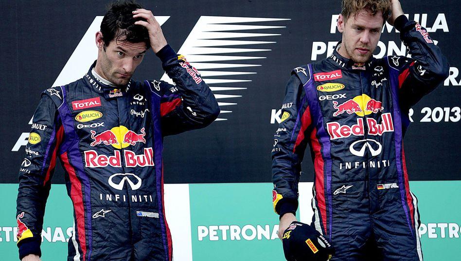 Formel-1-Piloten Webber (l.), Vettel: Dauerzoff bei Red Bull