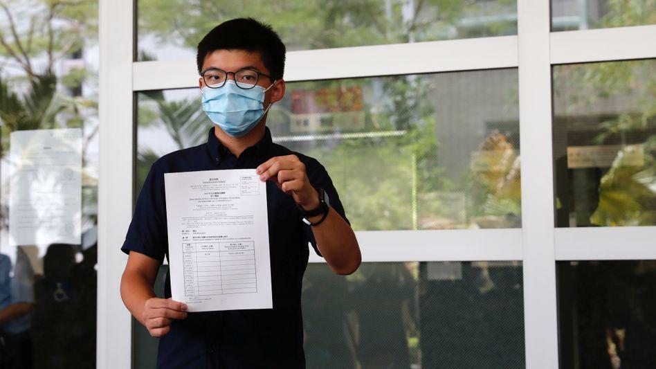 """Aktivist Josuha Wong: Er sprach vom """"schärfsten Vorgehen"""" gegen die Demokratiebewegung in der Geschichte Hongkongs"""