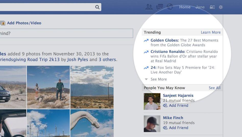 Facebook: Künftig mit Trending Topics