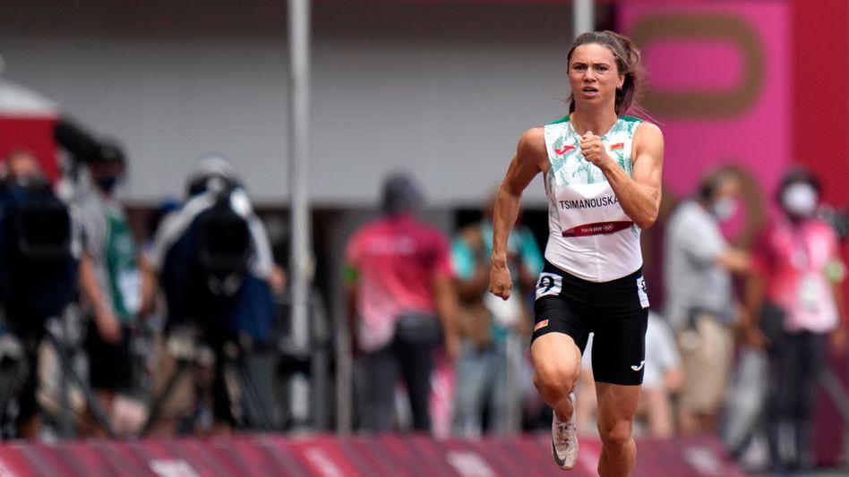 Kristina Timanowskaja während ihres Laufs über 100 Meter bei den Olympischen Spielen in Tokio