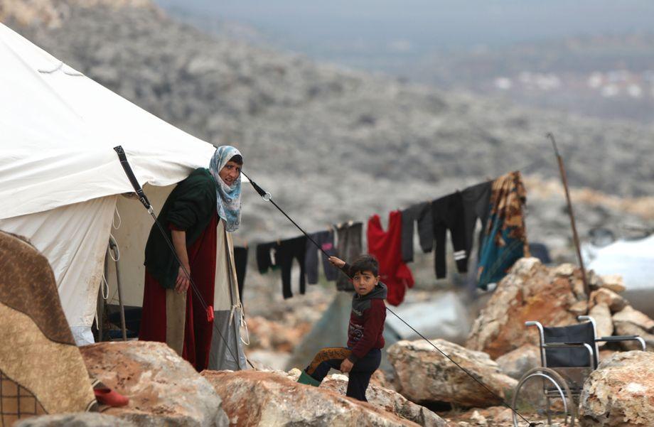 Verhandelt wird auch über die Flüchtlinge in Nordsyrien: Syrisches Camp an der türkischen Grenze