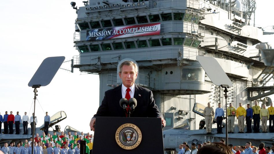 """Former US President George W. Bush declaring """"mission accomplished"""" in Iraq in May 2003."""
