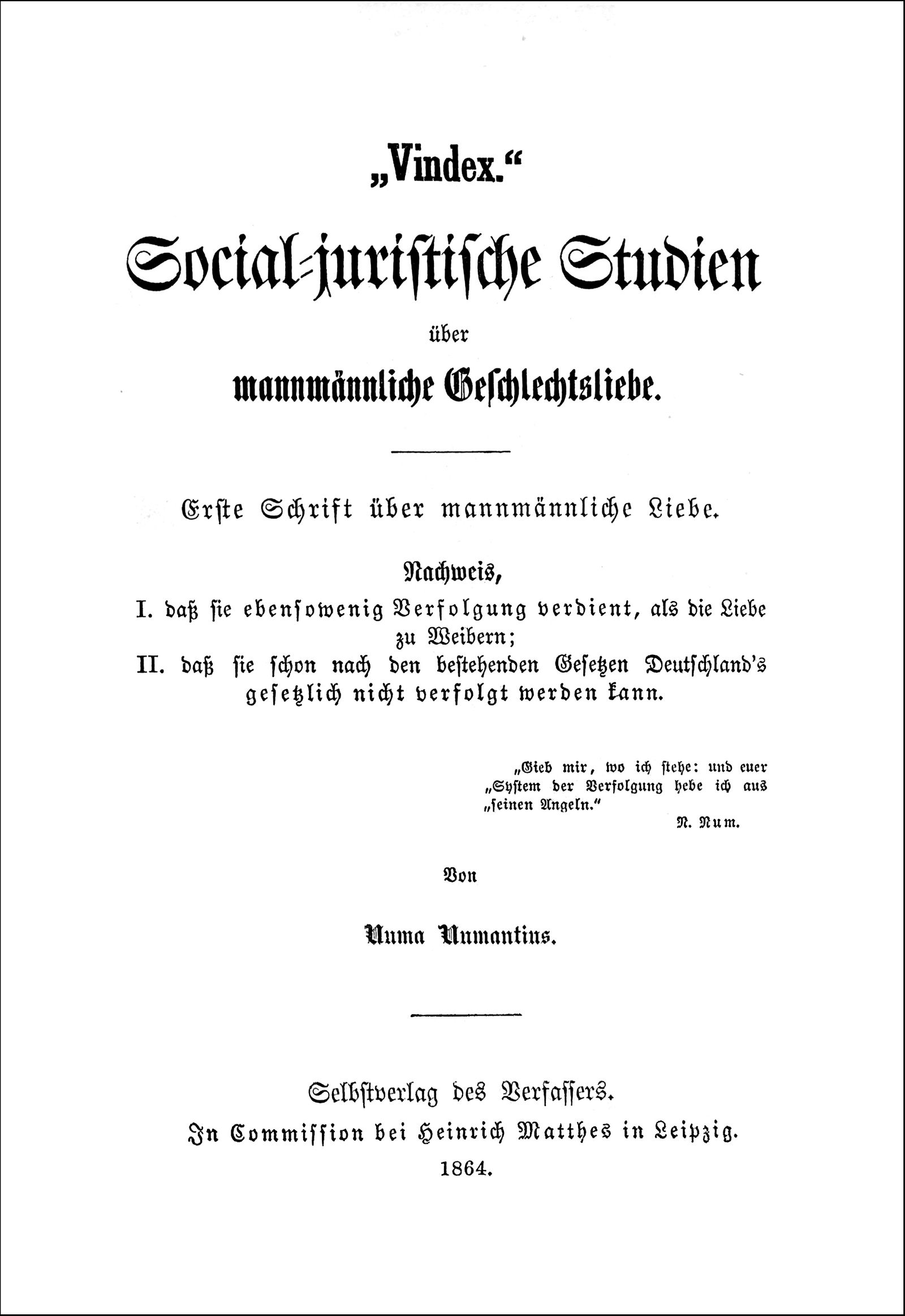 Titlepage of Karl Heinrich Ulrichs' Vindex, 1864