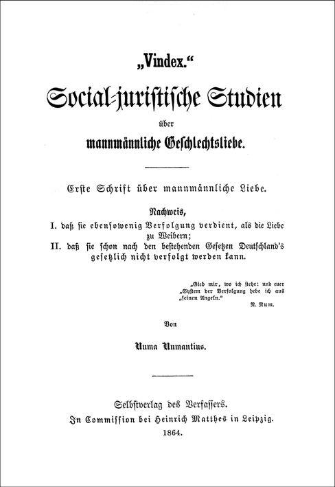Erster von zwölf Bänden: »Die Räthsel der mannmännlichen Liebe«