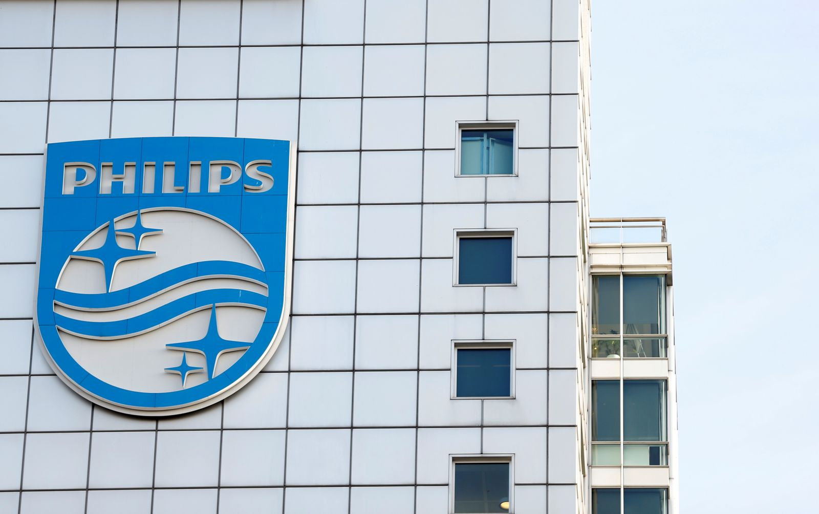 FILE PHOTO: Logo of Dutch technology company Philips is seen at its company headquarters in Amsterdam
