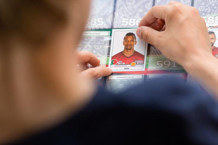 Panini-Sticker des portugiesischen Fussballnationalspielers Nani
