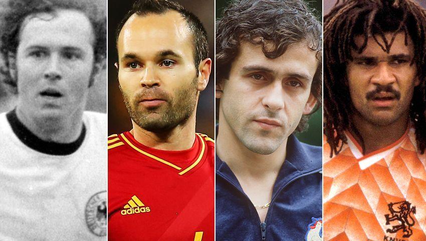 Franz Beckenbauer, Andrés Iniesta, Michel Platini und Ruud Gullit (v.l.)