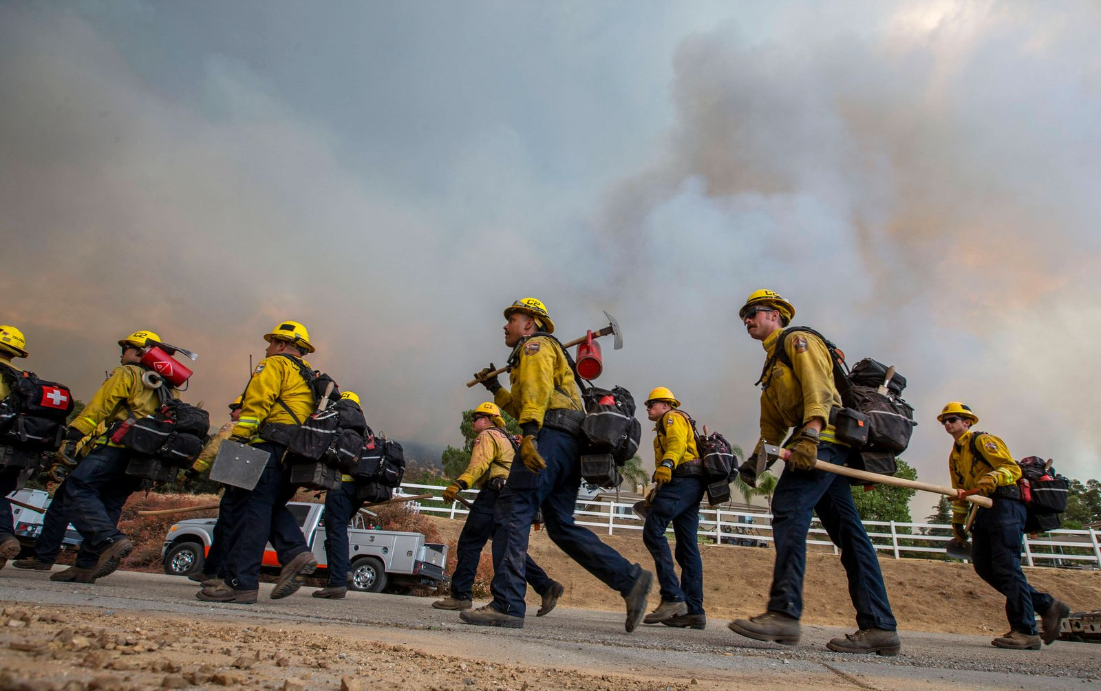 September 6, 2020, Yucaipa, California, USA: San Bernardino County firefighters brush crews C-1 and C-2 start their walk