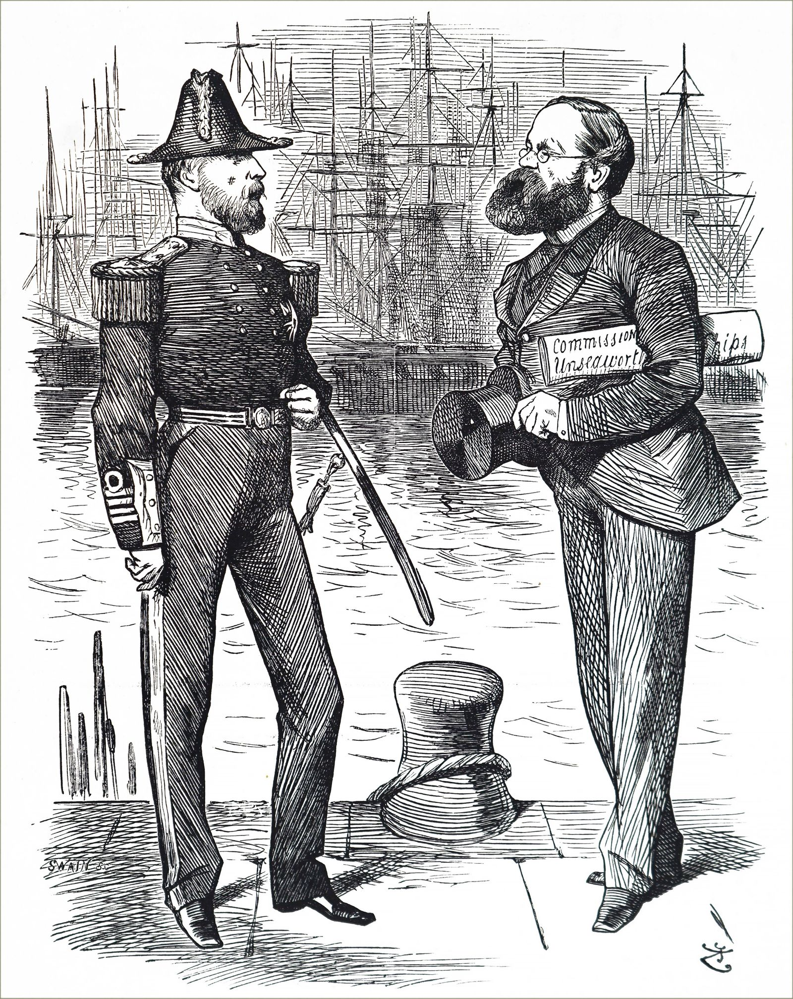 Cartoon depicting Samuel Plimsoll 1824 1898 an English politician and social reformer Dated 19th