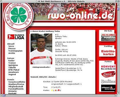 """Profi Tieku (auf RWO-Homepage): """"Im Fußball ist alles möglich"""""""