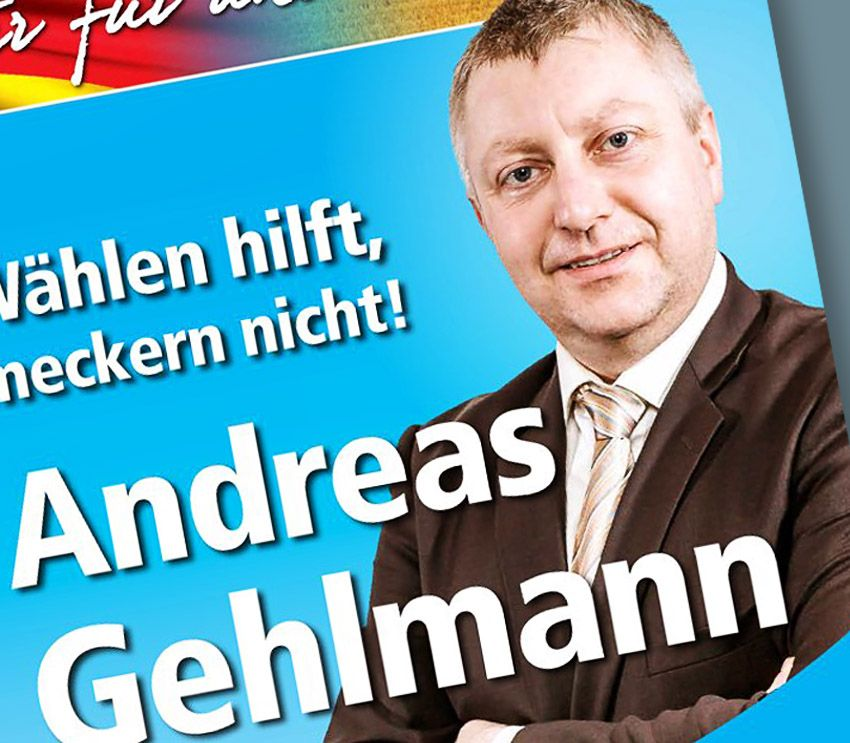 EINMALIGE VERWENDUNG Wahlplakat / Andreas Gehlmann / AfD