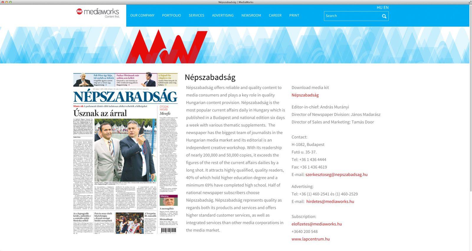 EINMALIGE VERWENDUNG NUR ALS ZITAT Screenshot/ Nepszabadsag Schließung