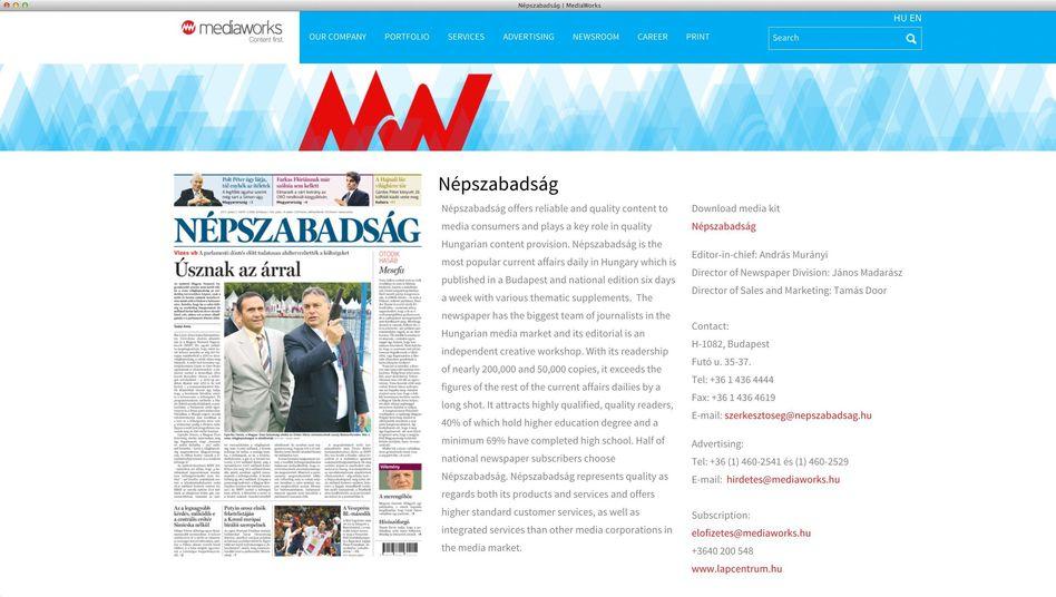 """""""Népszabadság""""-Titel auf der Mediaworks-Verlagsseite (Screenshot)"""