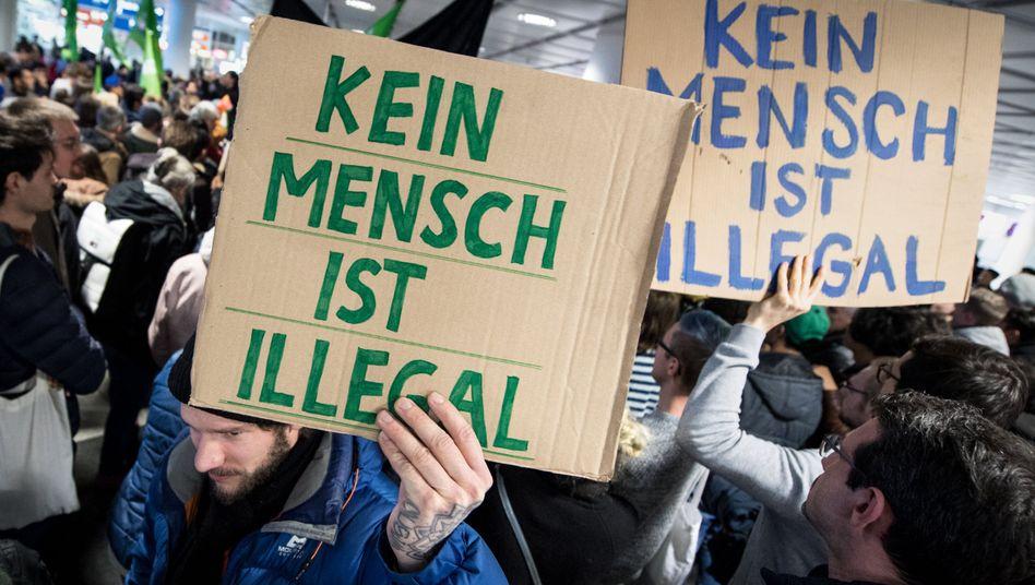 Protest am Flughafen München