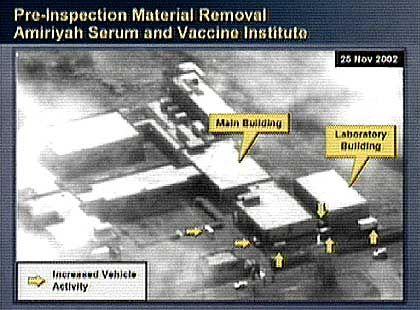 Powell führte eine Satelliten-Aufnahme vor von einem Gebäude, in dem Massenvernichtungsmittel hergestellt worden sein sollen