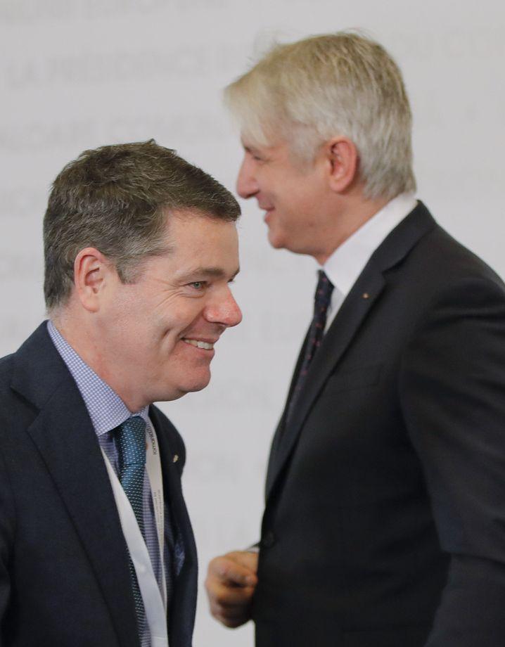 Irlands Finanzminister Paschal Donohoe (l.)