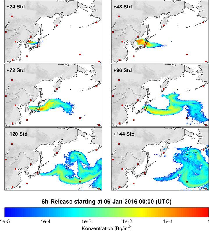 Modell der Ausbreitung von Nukliden: Nach frühestens 48 Stunden an Messstation Tagasaki in Japan