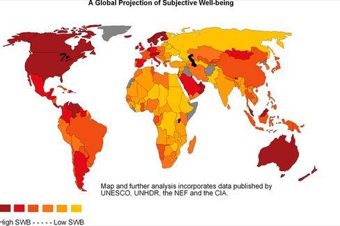 Europa-Karte des Glücks: In Skandinavien sind die Menschen besonders zufrieden