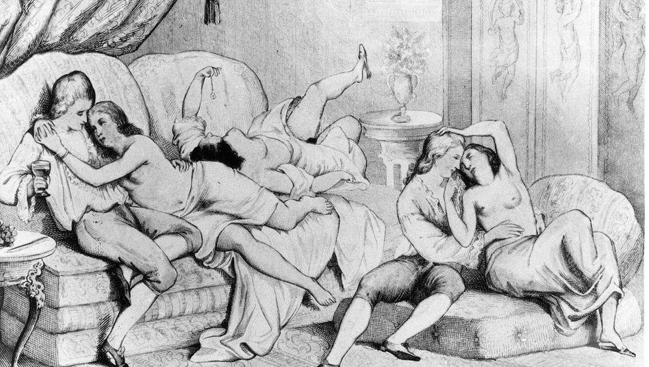 Sittengemälde:Illustrationen aus einer Ausgabe von Casanovas Memoiren zeigen Ausschweifungen im 18. Jahrhundert.