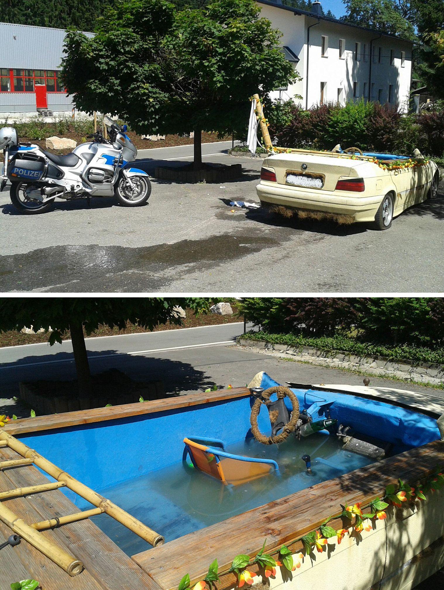 Cabrio als fahrbarer Pool