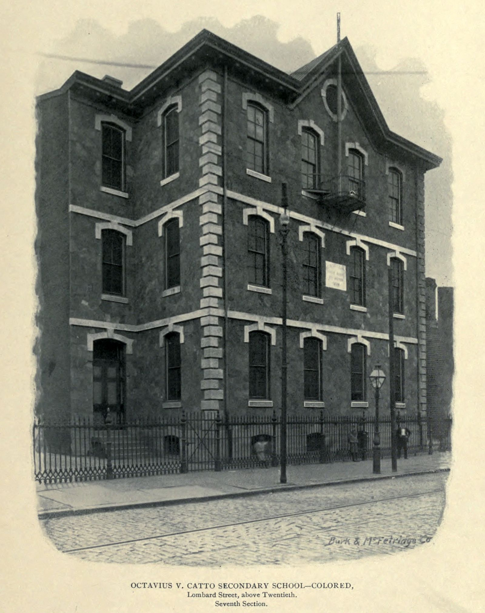 Octavius V. Catto Secondary School, Colored, Lombard Street, above Twentieth, Philadelphia PA (1897)