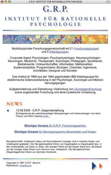 Homepage des G.R.P.-Instituts für Rationalle Psychologie: Umstrittene Studien, virtuelle Universität