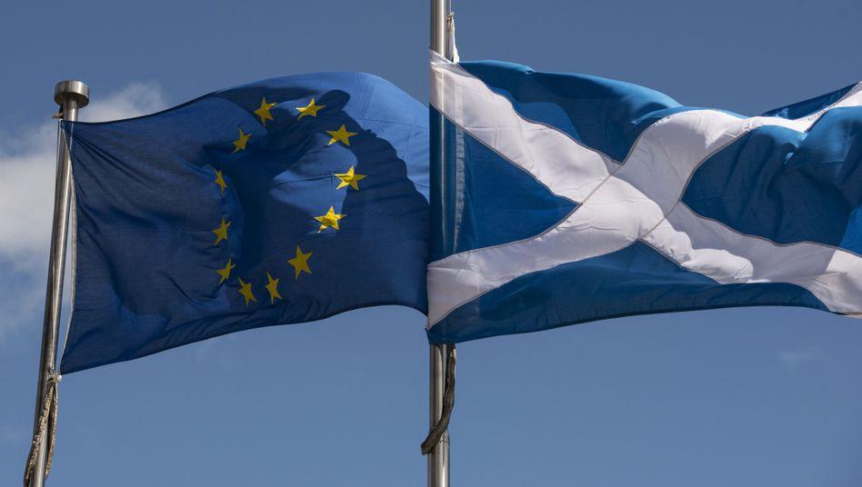 Fahnen von EU und Schottland