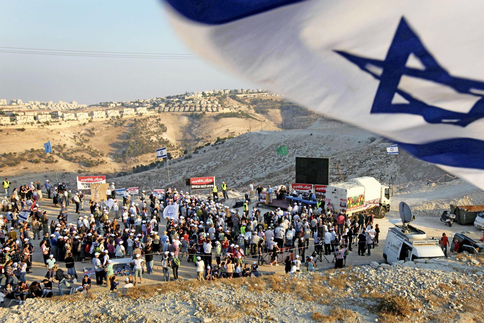 Demonstration jüdischer Siedler bei Jerusalem