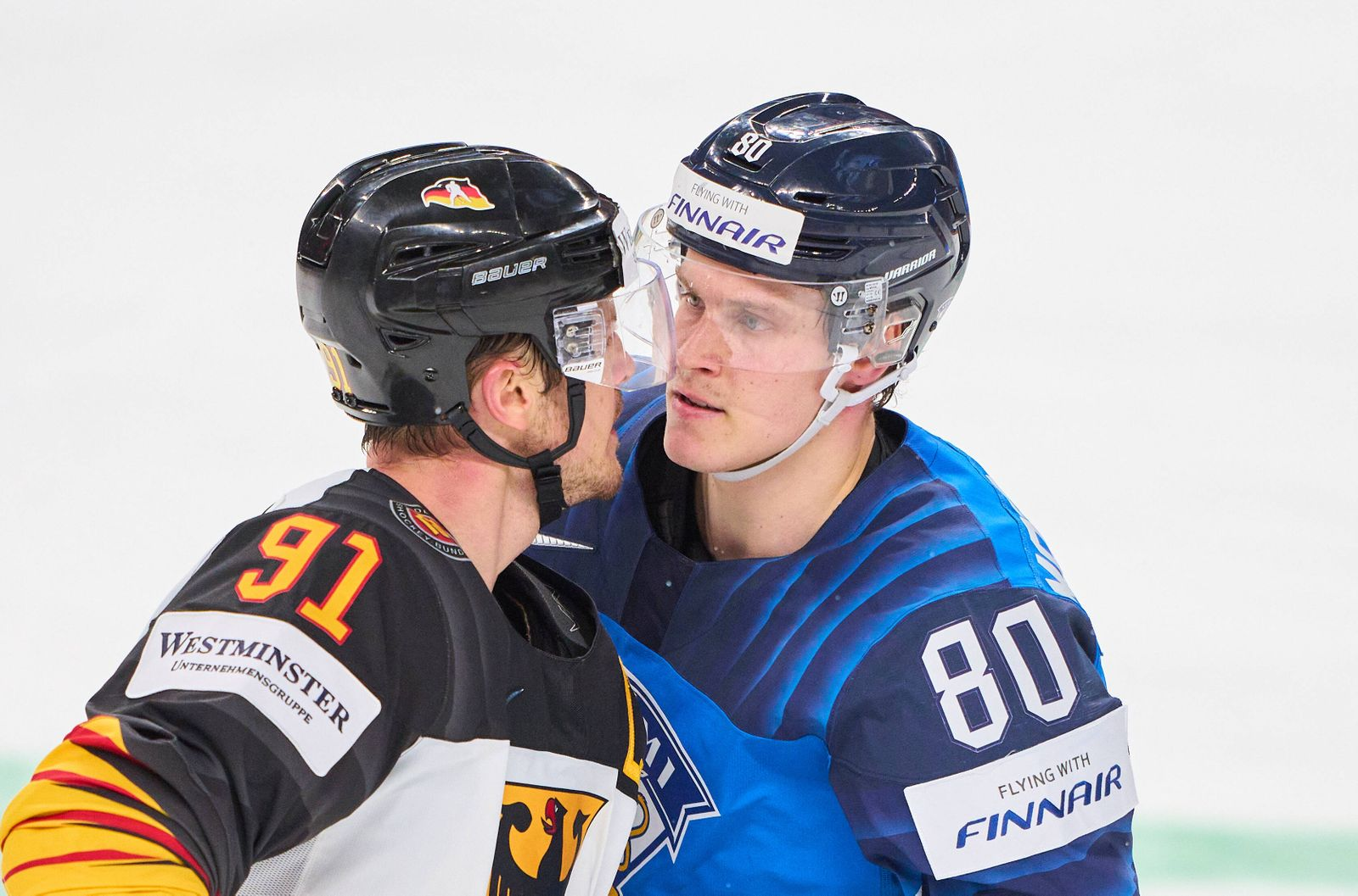 Moritz Müller, Mueller 91 of Germany against Saku Maenalanen 80 of Finland GERMANY - FINLAND IIHF Ice hockey, Eishockey
