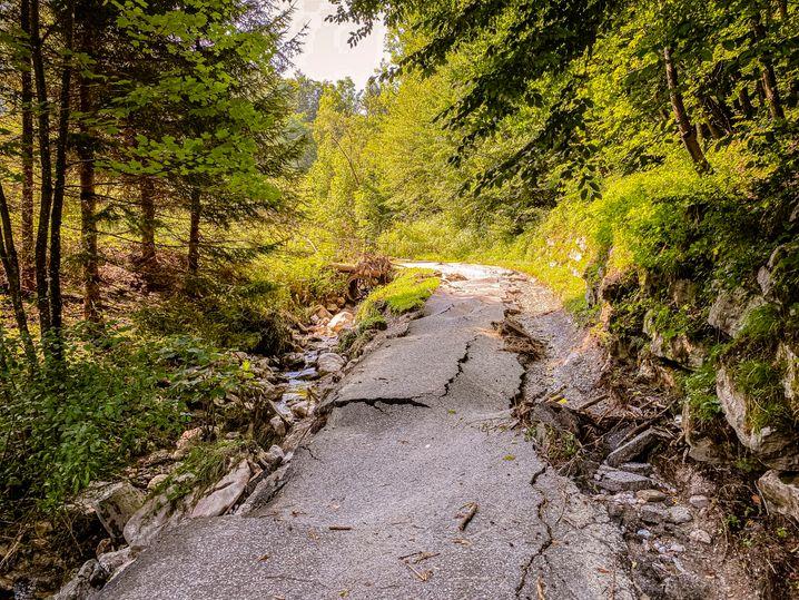 Spuren der Naturgewalt: Das Problem beginnt bereits oben in den Bergen