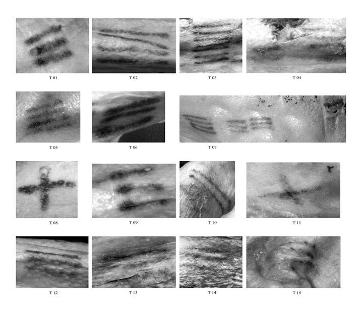 Multispektralfotografie machte die Tattoos sichtbar