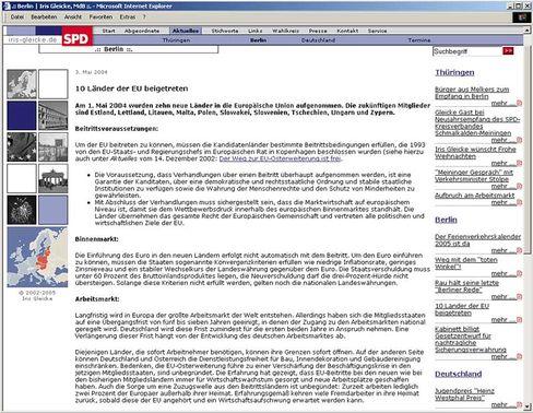 Screenshot der Homepage der SPD-Abgeordneten Gleicke: Fremdarbeiter im EU-Text