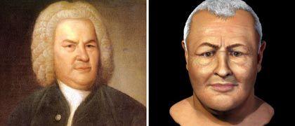 Gemälde und Computergrafik: Rechts das rekonstruierte Gesicht, links zum Vergleich das 1746 von Elias Gottlob Haumann gefertigte Gemälde Bachs, das einzige überlieferte, für das der Meister persönlich Modell gesessen haben soll