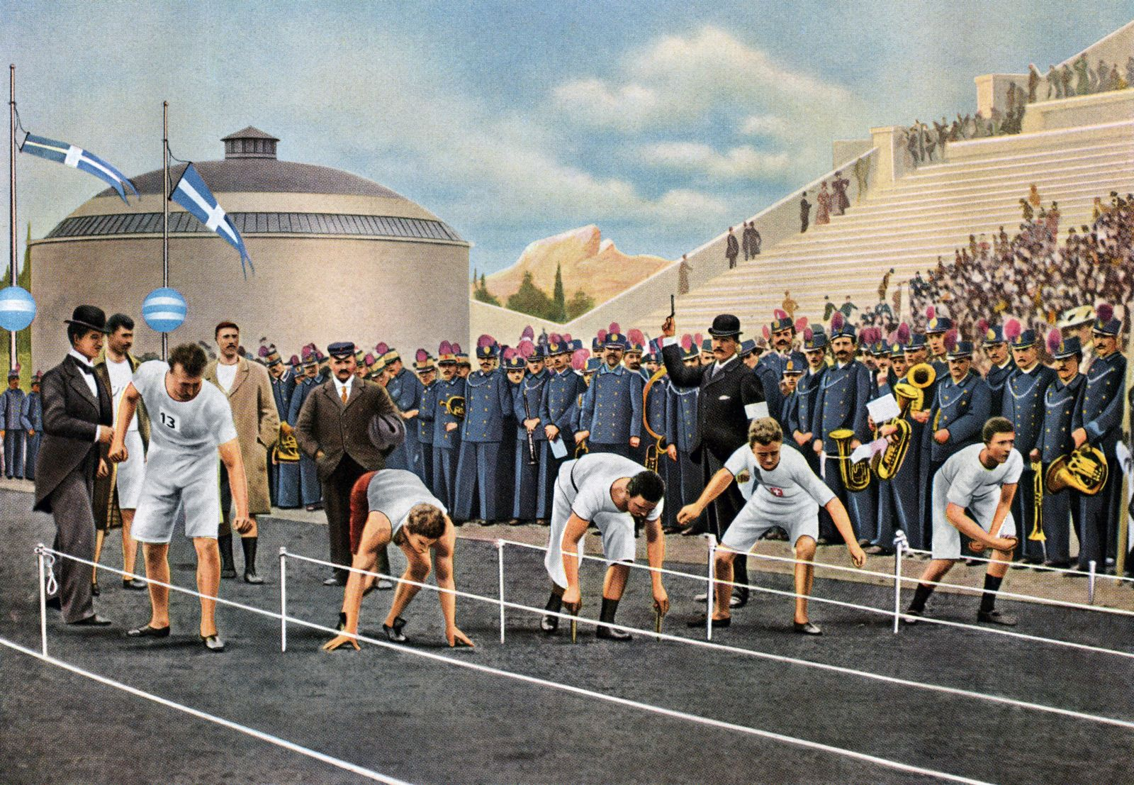 Athens 1896, the start of the 100m - American Burke (second from left) was the winner. The competitors all had their ow