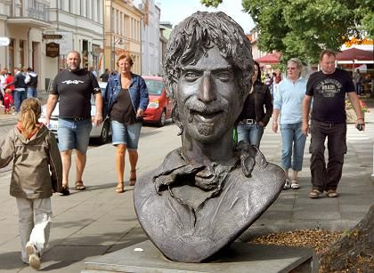 A giant bust of Frank Zappa graces the town center of Bad Doberan in northern Germany.