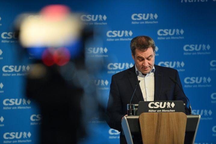 CSU-Chef Söder bei Rückzugs-Pressekonferenz