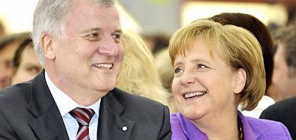 CSU-Chef Seehofer, CDU-Chefin Merkel (auf einer Europawahlkampf-Veranstaltung bei München): Wahlkampf mit Steuergeschenken