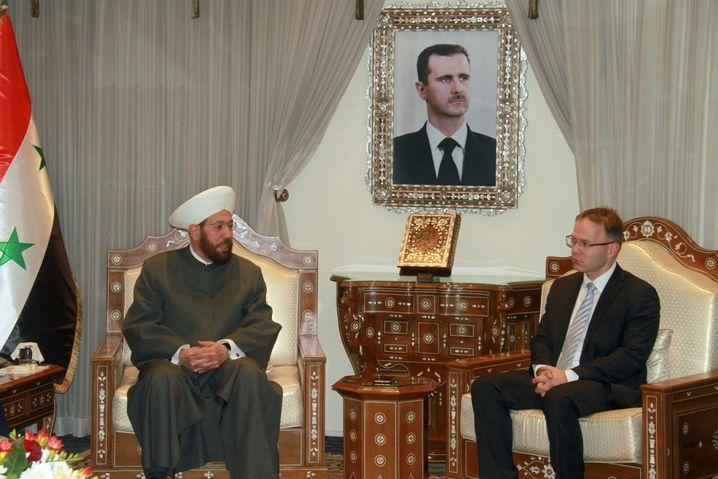 Syrischer Großmufti Ahmad Badr al-Din Hassoun mit AfD-Politiker Blex in Damaskus
