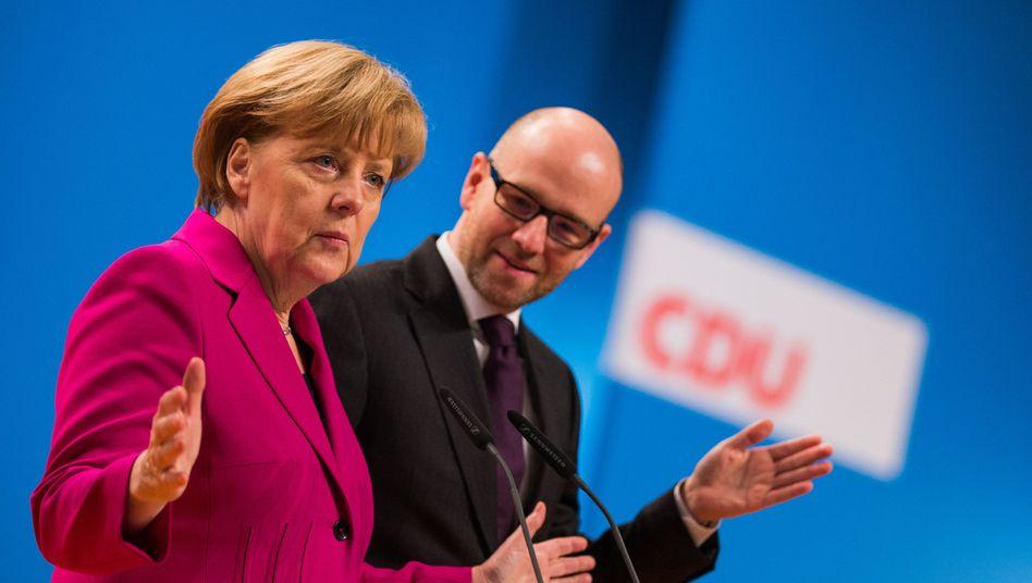 Kanzlerin Merkel, CDU-Generalsekretär Tauber: Stimmungsbild ernst nehmen