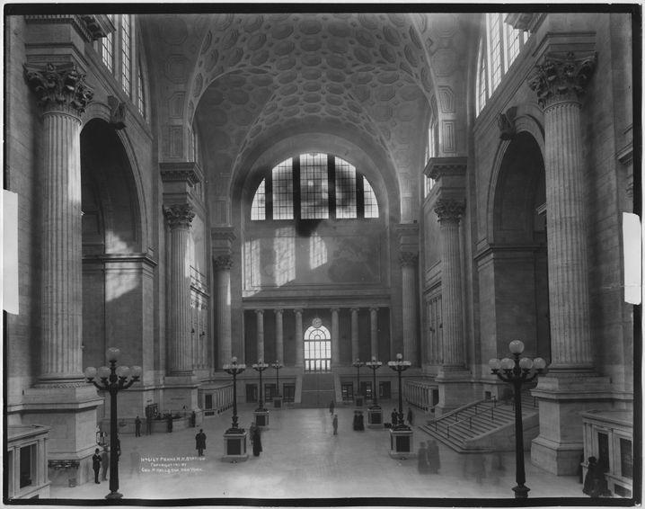 Empfangshalle der alten New Yorker Pennsylvania Station, die 1963 abgerissen wurde.