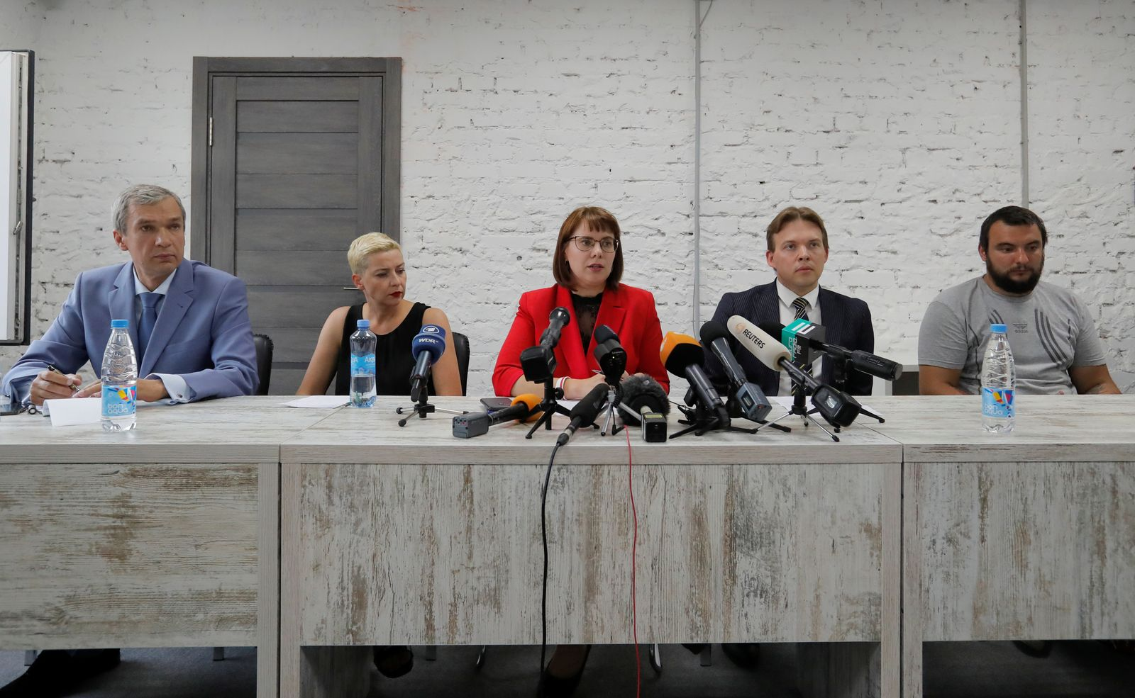 Representatives of the Coordination Council for members of the Belarusian opposition attend a news conference in Minsk