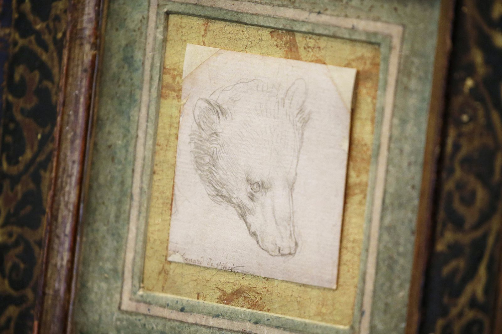 A drawing of the head of a bear by Leonardo da Vinci is on display as part of The Exceptional Sale at Christie s New Yor