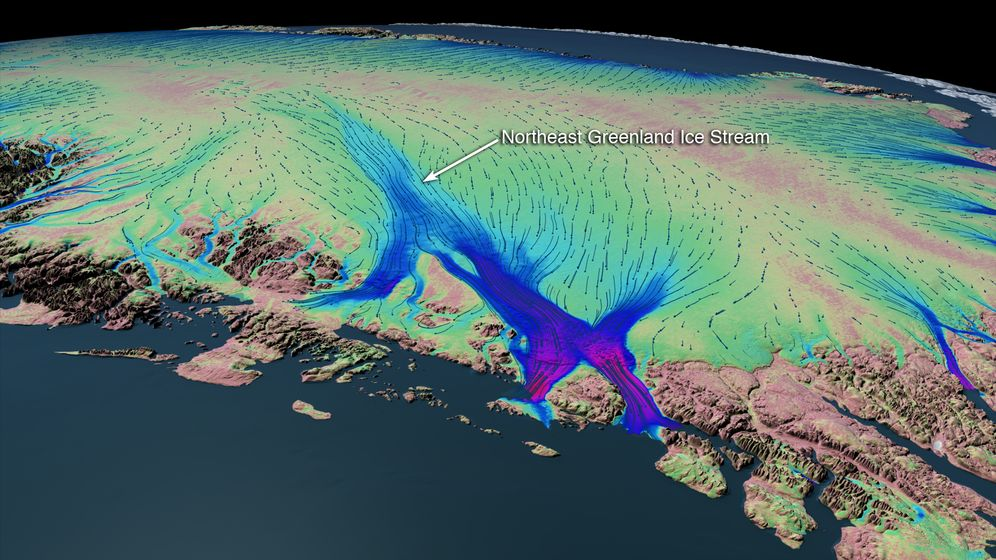 The movement of ice through NEGIS: Areas colored in blue and purple indicate particularly high velocities
