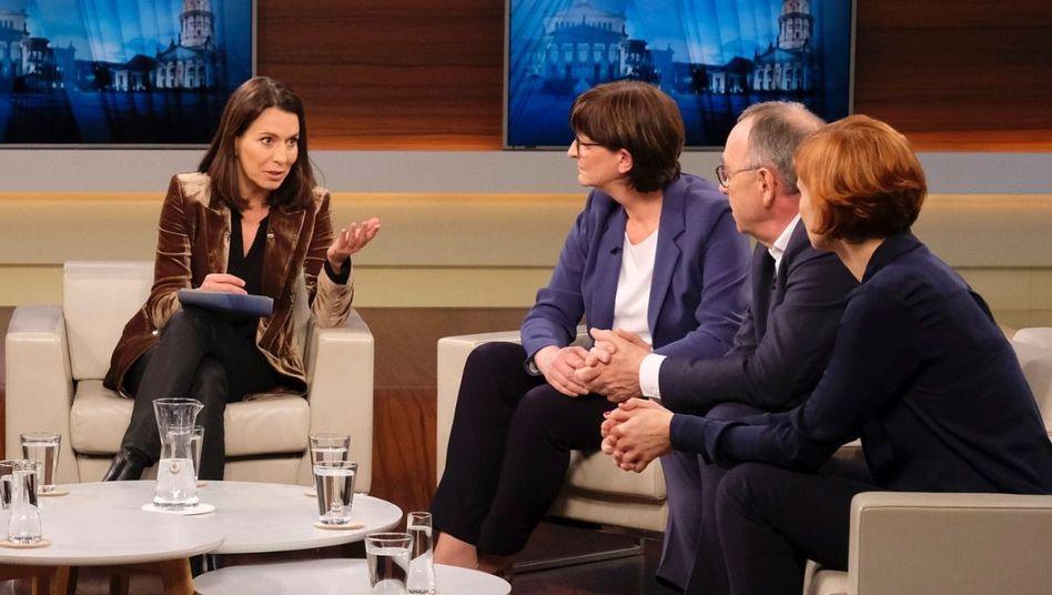 """Moderatorin Will (M.) mit ihren Gästen: """"Die SPD wählt linke Spitze - zerbricht jetzt die GroKo?"""""""