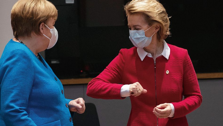 """German Chancellor Angela Merkel and European Commission President Ursula von der Leyen: """"It's not one of the easier problems that we have to solve."""""""