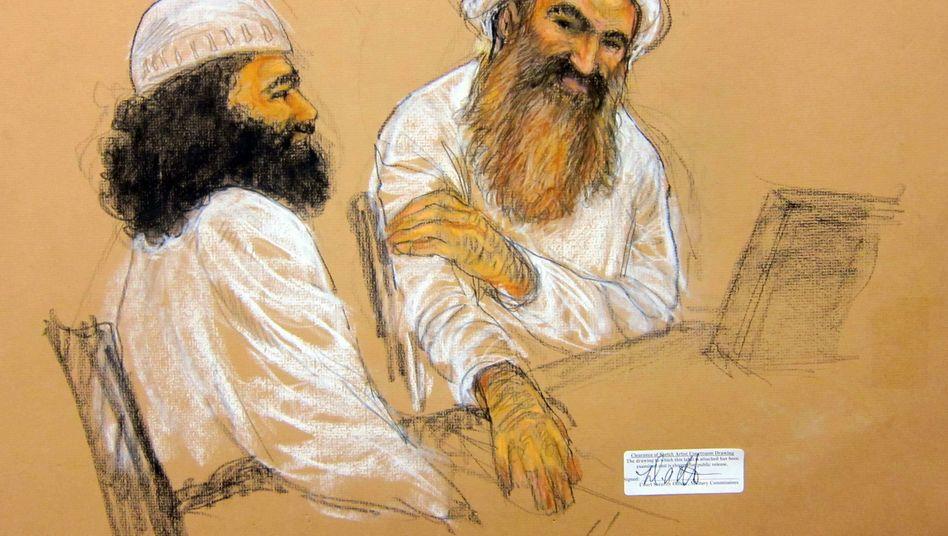 Walid Bin Attash (l.) und Chalid Scheich Mohammed: Angeklagt im Jahrhundertprozess