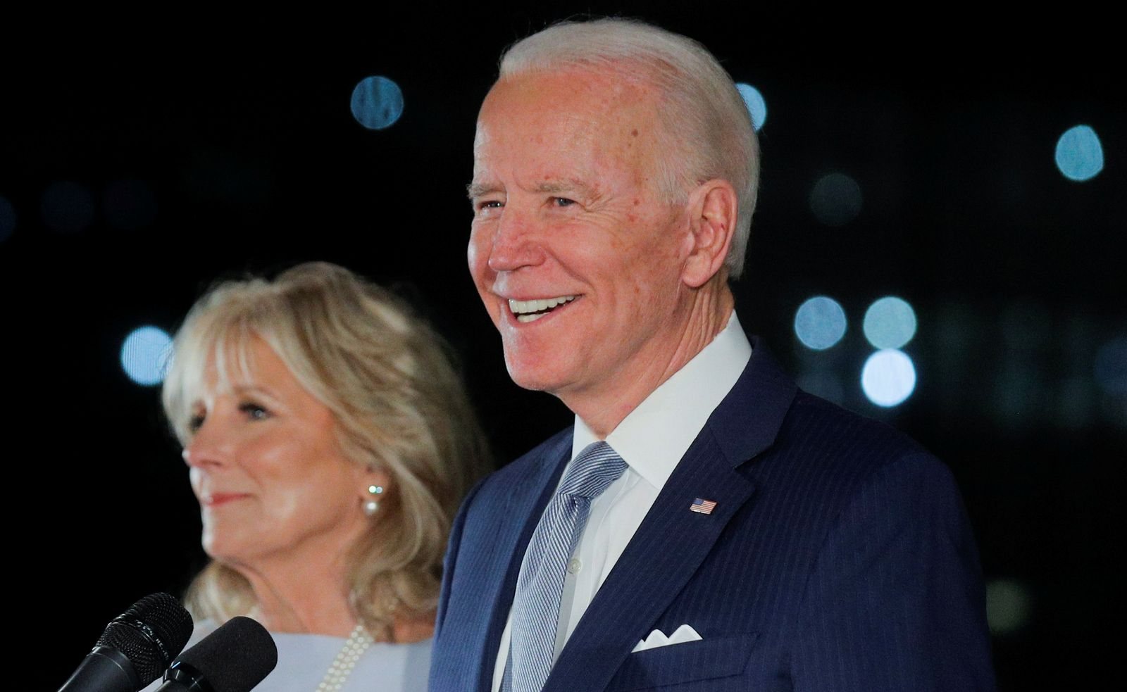 Democratic U.S. presidential candidate and former Vice President Joe Biden smiles as he speaks during a primary night news conference in Philadelphia