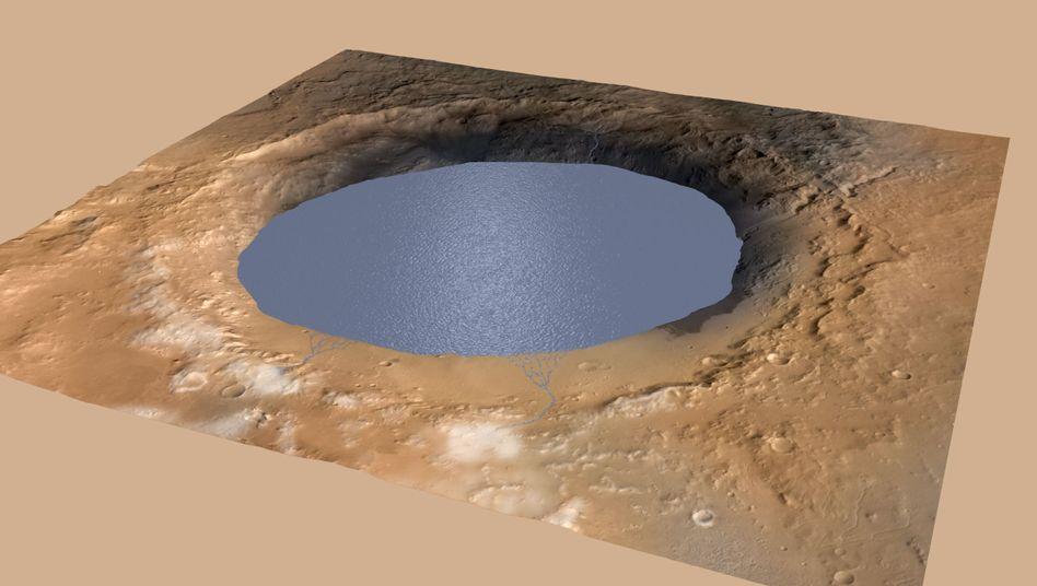 Wie auf dieser Illustration könnte der See im Gale-Krater einst ausgesehen haben